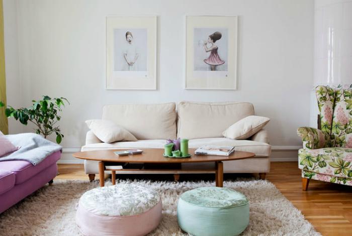 Просто, но со вкусом: идеи дизайна гостиной в пастельных тонах