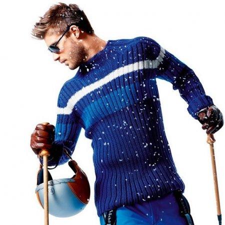 Мужской спортивный пуловер спицами