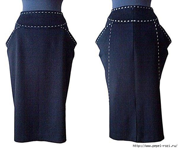 Юбка по мотивам GF Ferre с отделкой в виде швов ручной работы