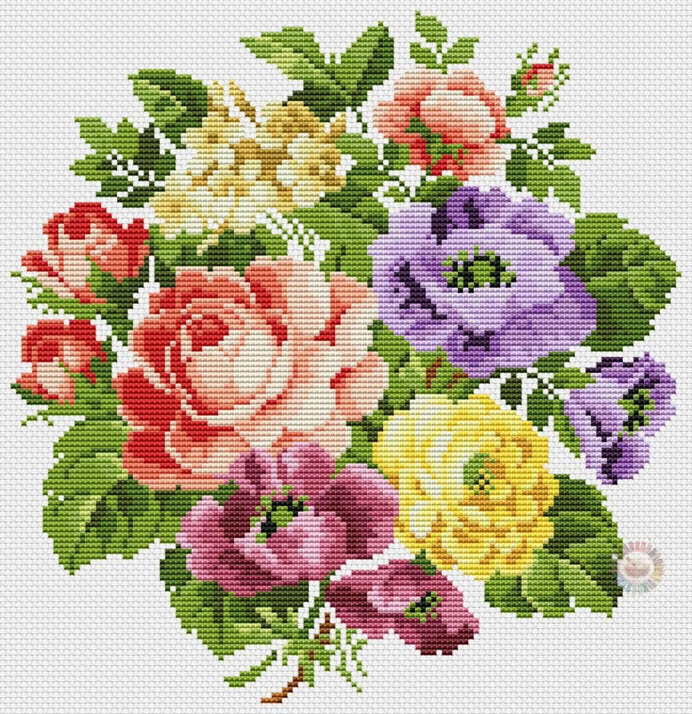 Схема вышивки бесплатно букет цветов
