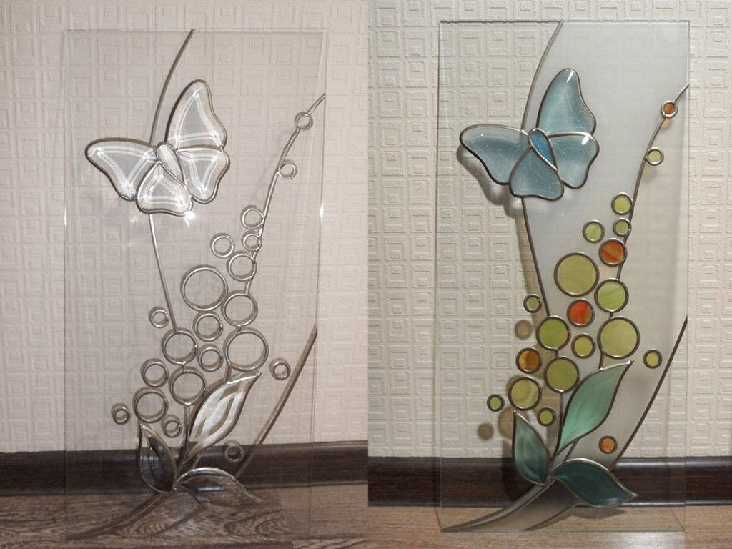 Как украсить стекло на двери своими руками видео