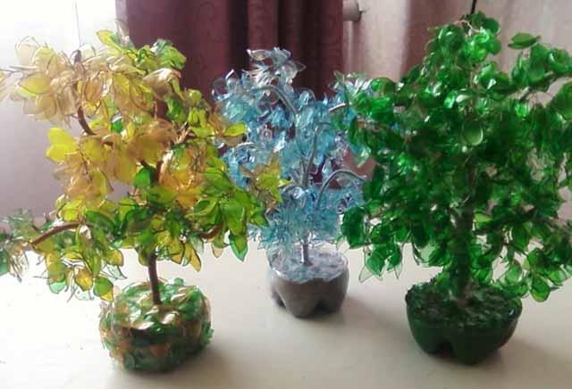 МАСТЕРИЛКА. Поделки из пластиковой бутылки: дерево и светильник