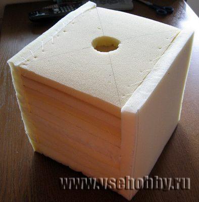 в верхней грани развивающего кубика вырезана дырочка для ямки