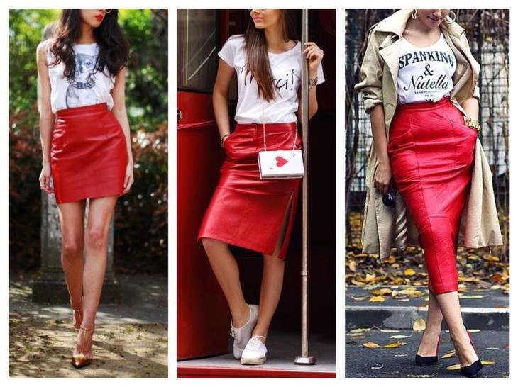красная кожаная юбка образы