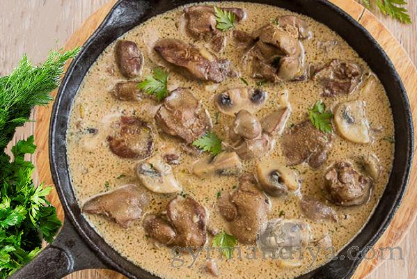 Печенка куриная с грибами рецепт