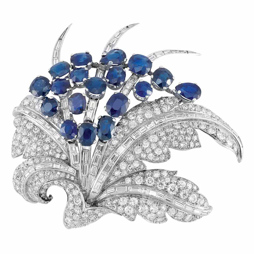 Platinum, Sapphire and Diamond Leaf Clip Brooch