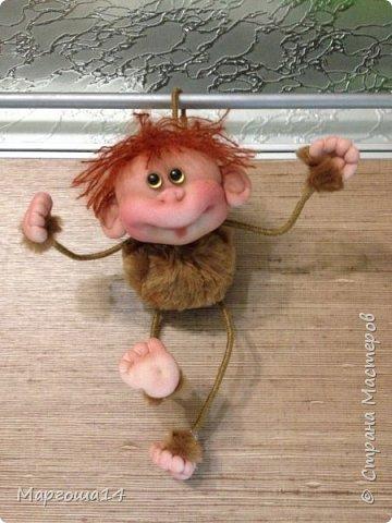 Игрушка Мастер-класс Новый год Шитьё МК по обезьянке Капрон Проволока Пряжа Ткань фото 25
