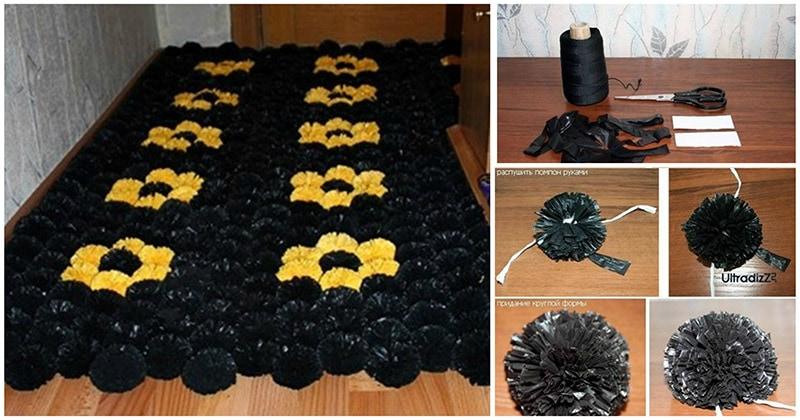Неожиданно: пушистый коврик «Помпон» из нестандартного материала