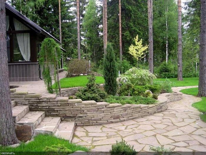 Подпорная стена в садовом дизайне
