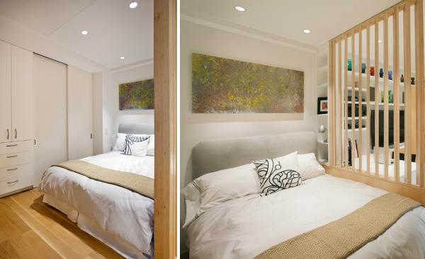 Дизайн квартиры студии 40 кв м - фото спальни с гардеробом
