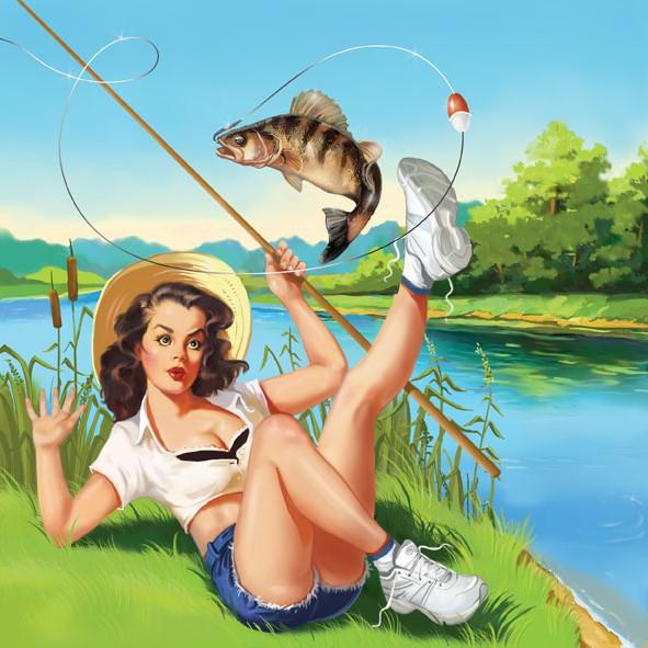 Рыбалка и женщина
