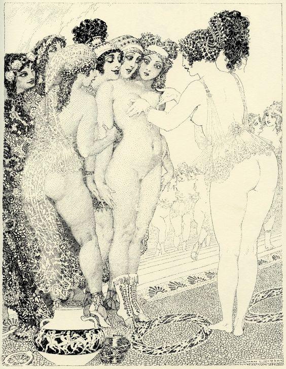 Прелестные нимфы, козлоногие обольстители и демоны в картинах Нормана Линдсея 17