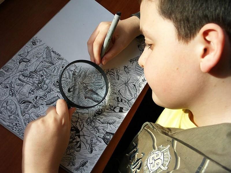 Этот 11-летний мальчик создает удивительные картины! Достойный наследник Леонардо да Винчи