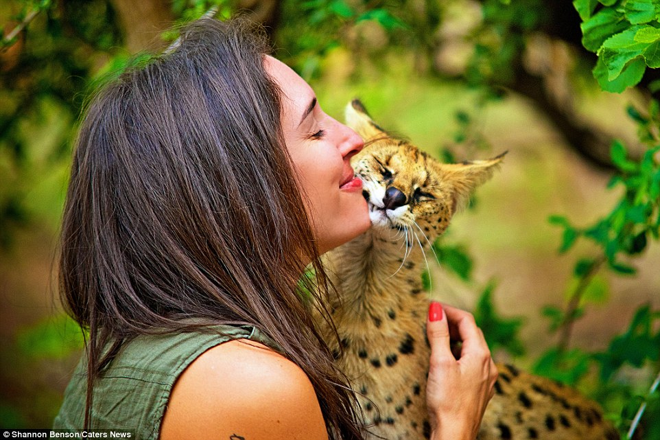 Brave girl-the photographer easily finds common language with wild animals 09