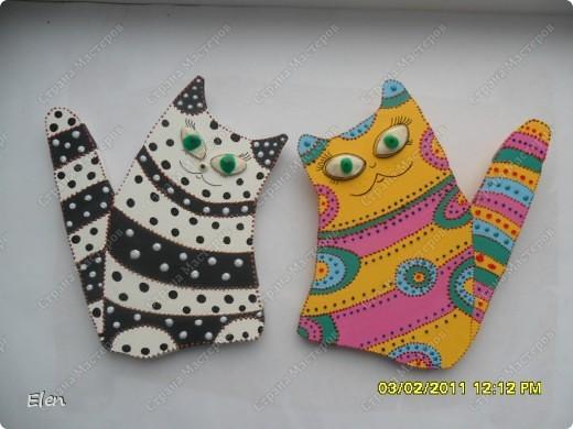 Картина, рисунок, панно Моделирование, Роспись: кошки Гипс. Фото 1