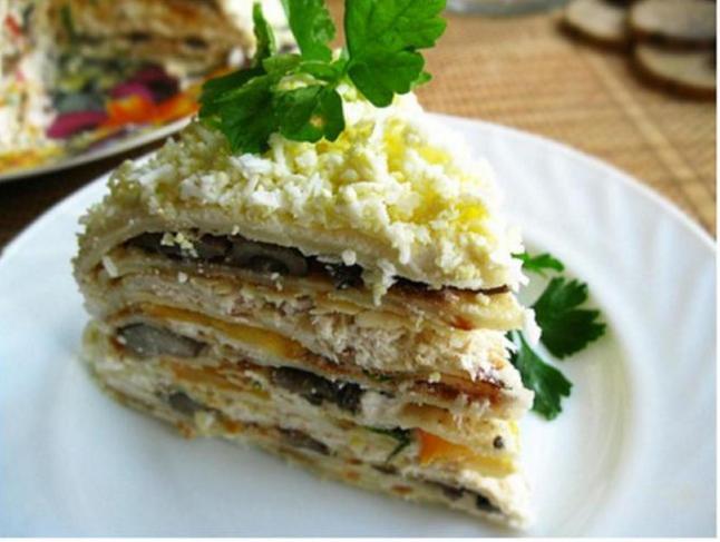Закусочный тортик из вафельных коржей фото