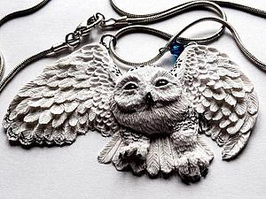 Создаём кулон из полимерной глины в виде белой полярной совы   Ярмарка Мастеров - ручная работа, handmade