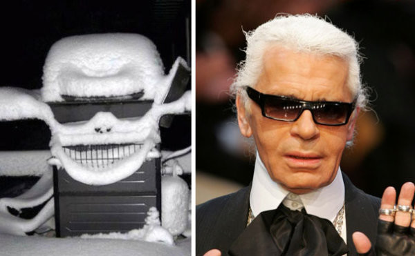 33. Эта снежная маска похожа на Карла Лагерфельда вещи, люди, похожие лица, схожесть