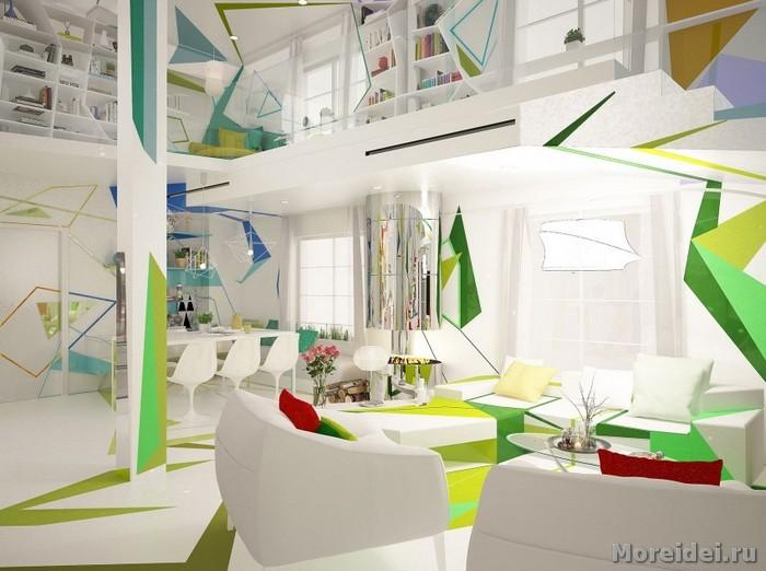 Экспрессия цвета в дизайне дома в стиле лофт.