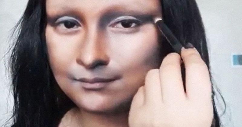 Китаянка открывает косметичку, и через несколько минут она уже Мона Лиза. Макияж творит чудеса!