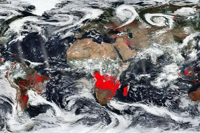 НАСА показали все пожары на Земле на одной карте