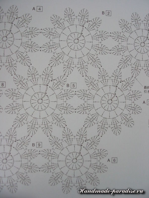Детский цветочный плед крючком схема