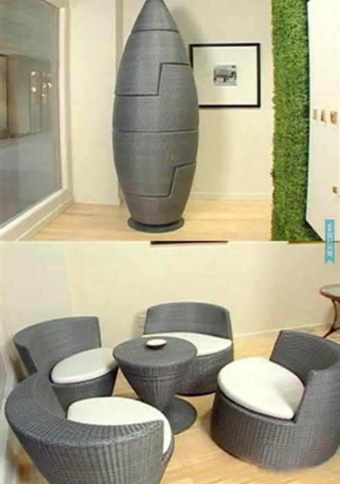Замысловатая статуэтка «Ракета» трансформируется в чайный столик и 4 мягких кресла.