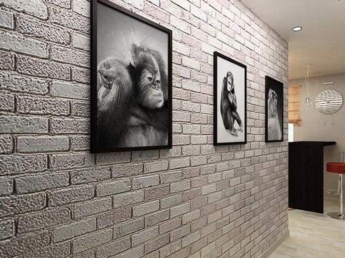 Обои под серый кирпич в коридор фото