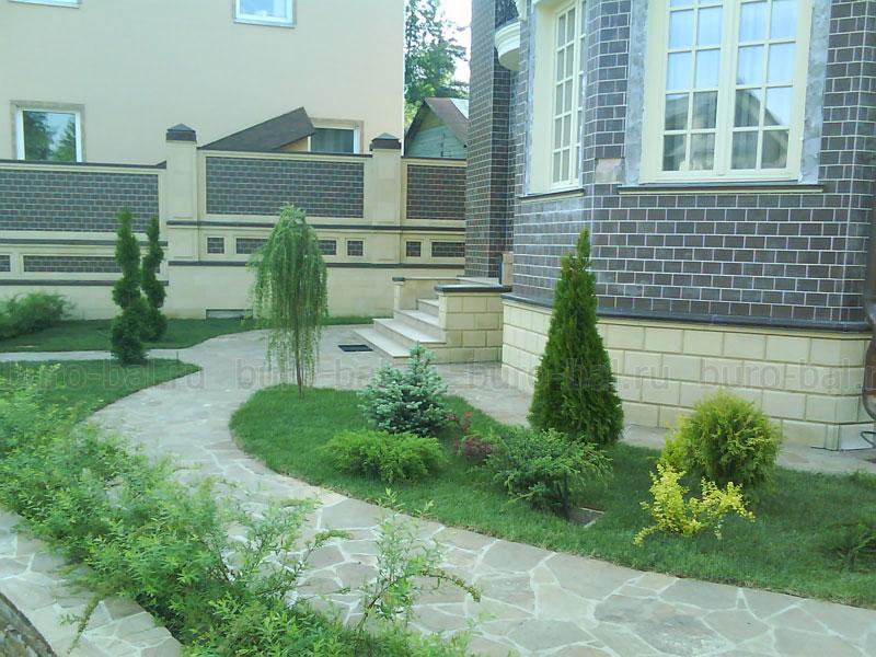 Дизайн участка перед домом фото