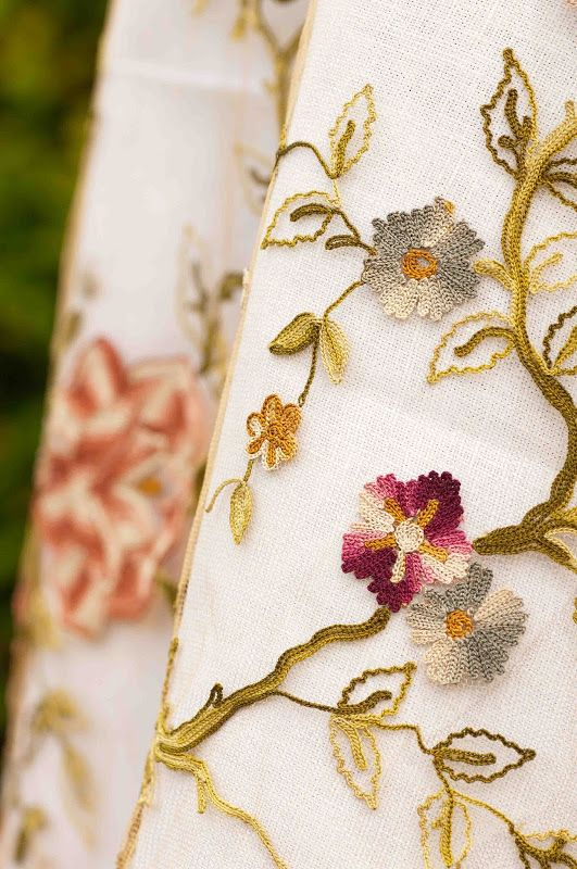 A stunning piece of antique tambour embroidery. A Tamboured Garden: