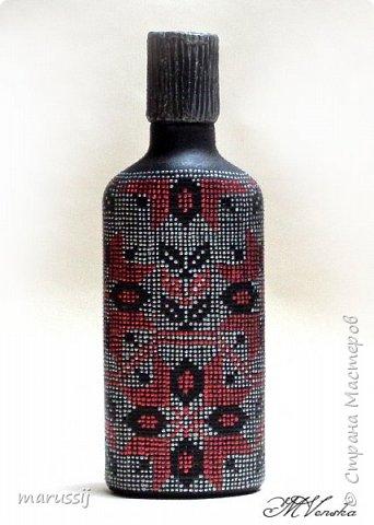 Декор предметов Мастер-класс Роспись По мотивам вышивки Бутылки стеклянные фото 2