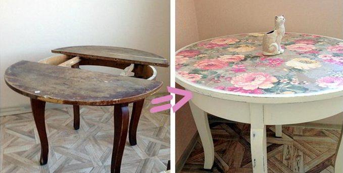 Девушка подарила «убитому» столу вторую жизнь, используя лишь краску и красивую ткань