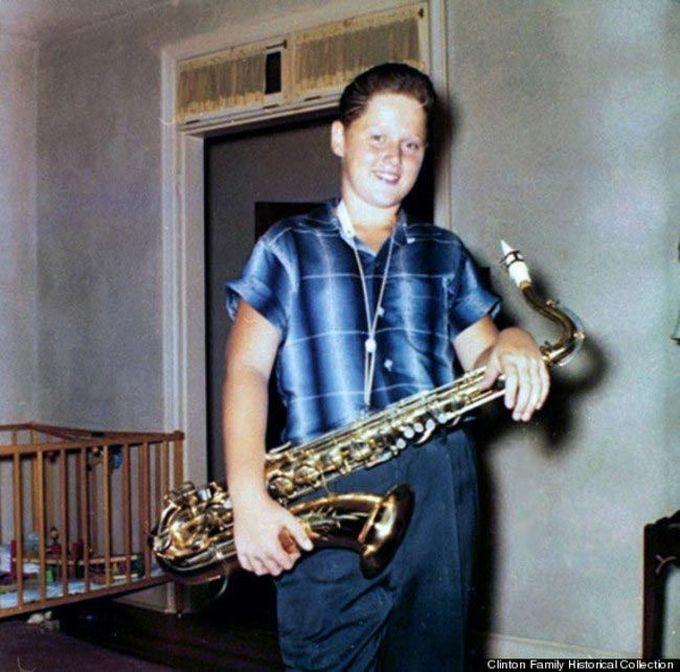 12-летний Билл Клинтон с саксофоном в руках, 1958 дети, известность, история, фото
