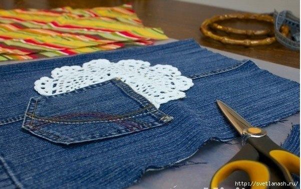 Симпатичная сумка из старых джинсов