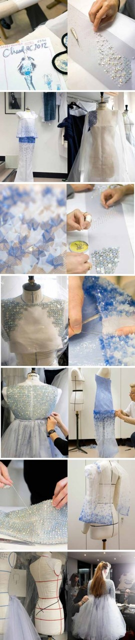 Intensive work at Chanel haute couture atelier.: