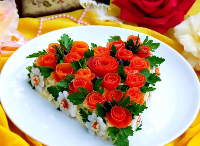 украшение салатов фото пошагово
