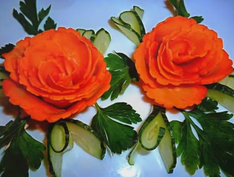 Розы из моркови и огурца