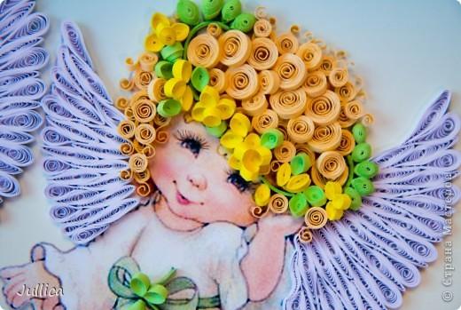Картина, панно Квиллинг: Ангелочки Бумажные полосы День рождения. Фото 8
