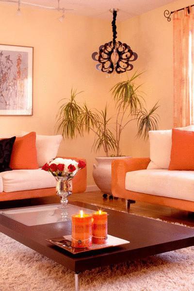 Современная гостиная в персиковых тонах