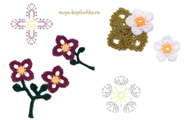Очень маленький цветок крючком схема