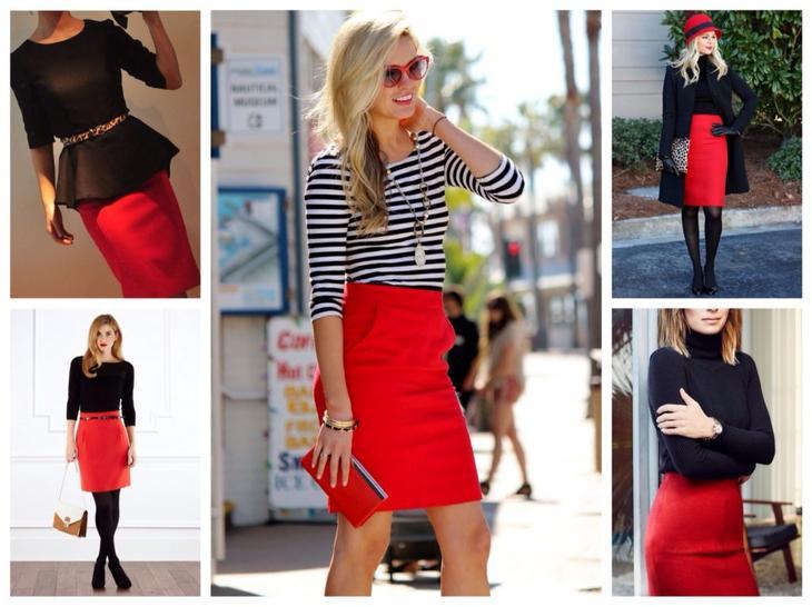 юбка карандаш красного цвета