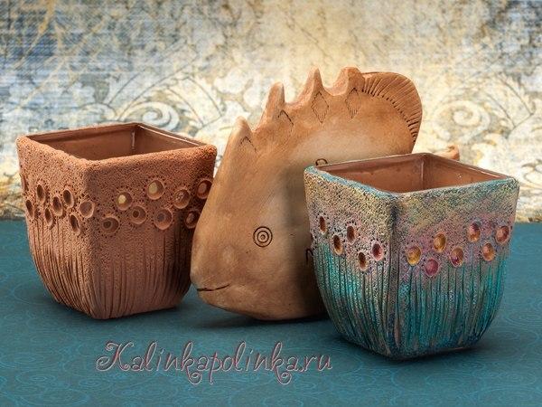 Подсвечник из полимерной глины. Имитация керамики.