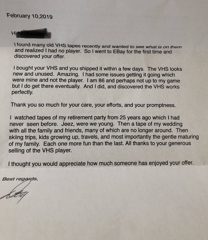 Someone Sells Their Old VHS Player On eBay And Receives A Surprise Heartwarming Letter