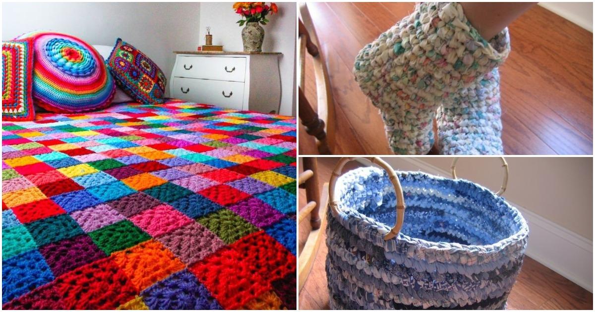 Вяжем из лоскутков симпатичные и практичные вещи: 15 идей для дома и дачи