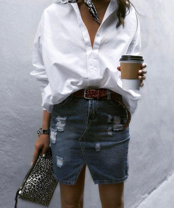 Как это носится — 10 street-style образов с белой рубашкой на лето 2018