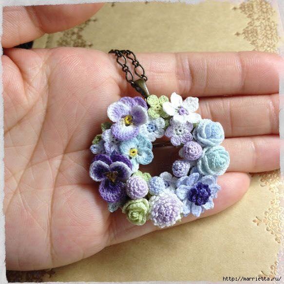 Украшение и декор предметов цветочками крючком (1) (583x583, 169Kb)