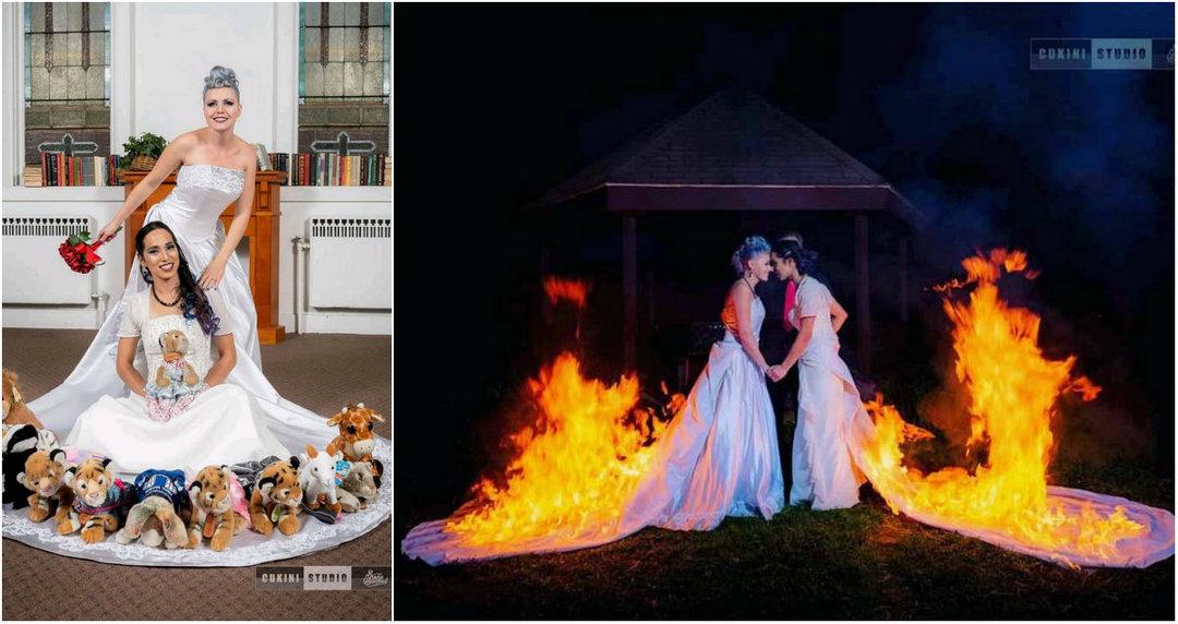 Невесты подожгли платья ради эффектных фото