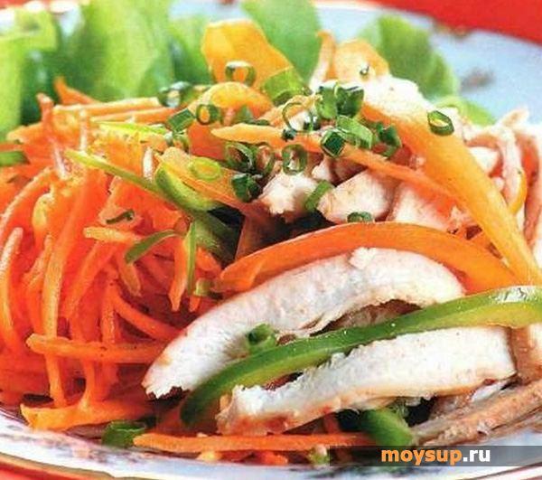 Салат с курицей и морковью и болгарским перцем рецепт с