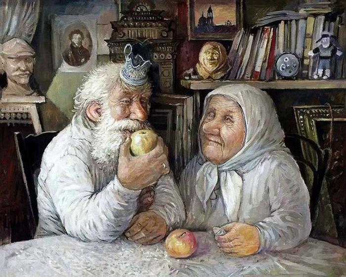 Счастливые бабушки и дедушки: 8 душевных картин русского художника