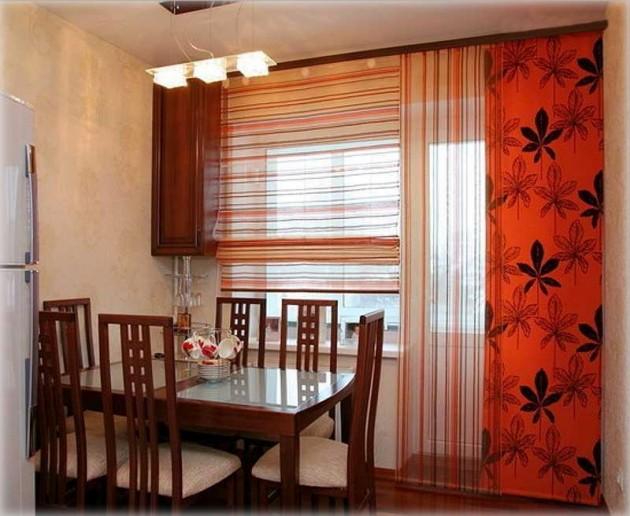 Окно с балконной дверью на кухне дизайн